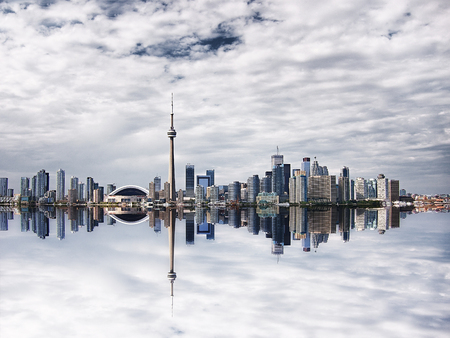 building cn tower: Beautiful Toronto Cityscape with Water Reflection - including the Rogers Centre, CN Tower, and banking distric
