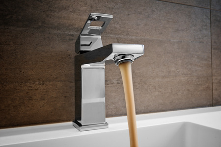 household fixture: Sink Pouring Out Dirty Water, Water and droplets
