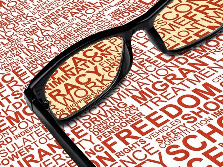 liberties: A pair of black glasses with background concept wordcloud of human rights