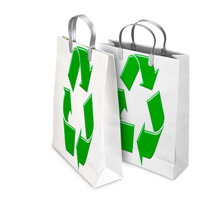 opened bag: Two Shopping Bags opened and closed with recycling symbol isolated on white. There is a different path for each bag Stock Photo