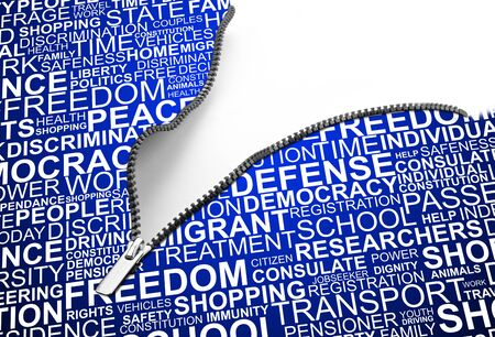 liberties: blank zipper corner with a background concept wordcloud of human rights Stock Photo