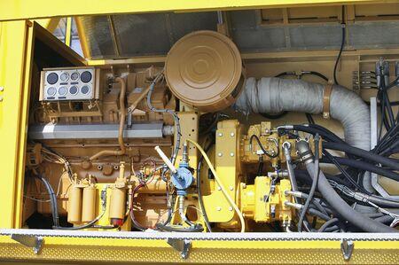 jib: Yellow Industrial Structure, Crane jib fragment with hydraulic engine