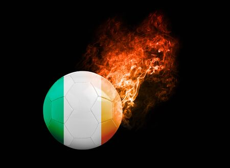 republic of ireland: Flaming Football Ball on black background with team flags, Europe 2016. Group E, Republic of Ireland