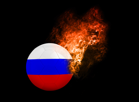 group b: Flaming Football Ball on black background with team flags, Europe 2016. Group B, Russia