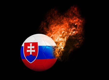 b ball: Flaming Football Ball on black background with team flags, Europe 2016. Group B, slovakia