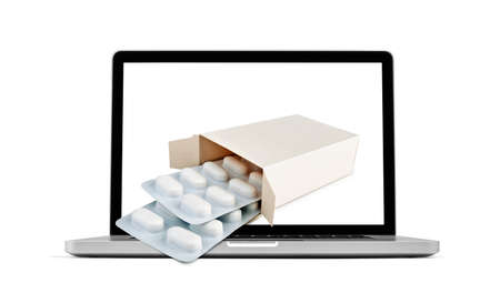 medecine: Getting pharmacy medecine from laptop monitor screen - Online Transaction, Online therapy theme. Stock Photo