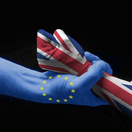 governmental: concept: hands that express the Brexit Stock Photo