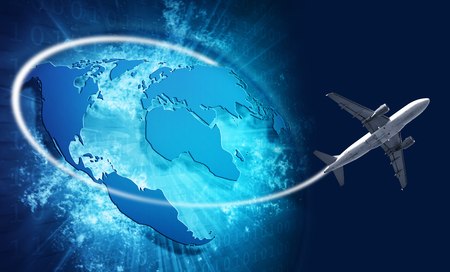 Blue vivid image of globe and airplane. Internet Concept of global business Stock Photo