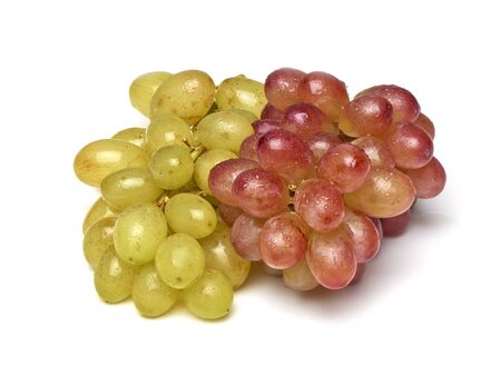 Two sorts of grapes, freshly washed  isolated on white
