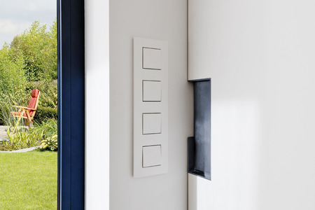 Beau Light Switch Near A Sliding Door In A Modern Apartment With View On A Lush  Garden