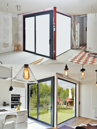Renovation on a Modern luxery kitchen with sliding door before and after