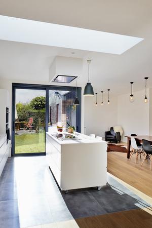 Cocina moderna abierta desde loft con vista a un exuberante jardín Foto de archivo - 66495174