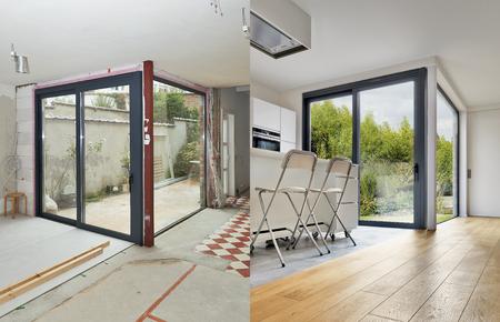 水平方向の形式の近代的なアパート インテリアの前に、と後の改修 写真素材