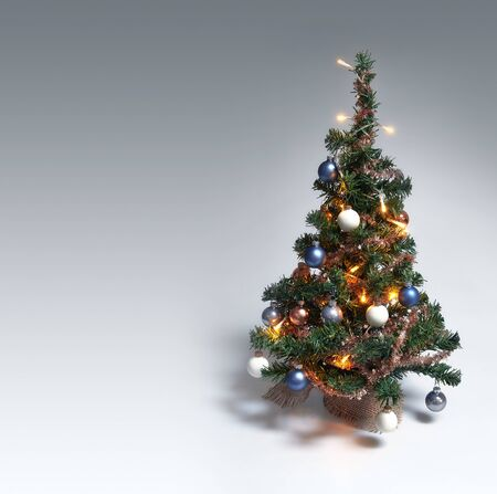 Christmas Tree on gradient background with copy space