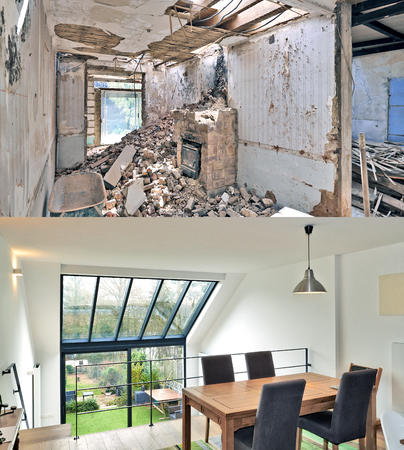 Renovation of a modern duplex with large windows. Before and after