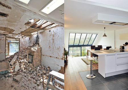 Modern open kitchen in renovated house with view on a lush garden, before and after Imagens