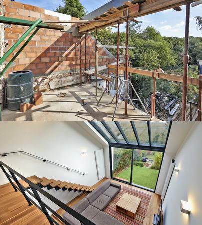 대형 창문이있는 현대적인 거실이며 원룸 형 정원에서 전망을 즐기실 수 있습니다. 이전과 이후