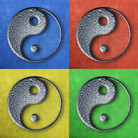 Symbol of Yin and Yang in brushed metal covered with water drops.