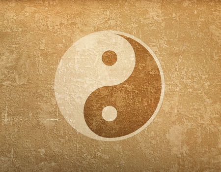 grunge background with space for text and symbol of Ying-Yang