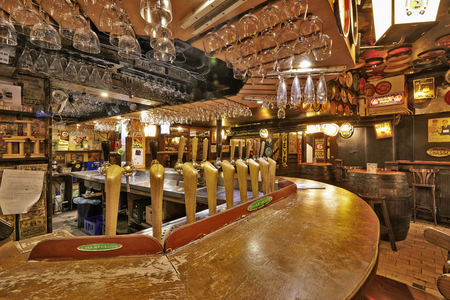 BRUSSELS, BELGIUM - OCTOBER 05, 2015:  Delirium Cafe known for its long beer list, standing at 2.004 different brands in January 2004 as recorded in the The Guinness Book of Records. Editorial
