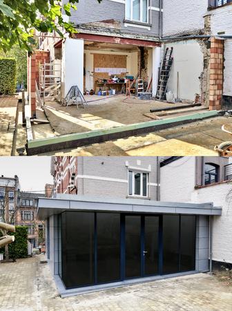 새로운 현대 확장의 건설 단계 스톡 콘텐츠