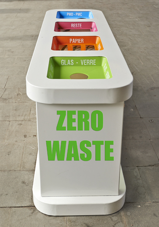 degradable: colorful recycle bins in a railway station in Europe. Zero waste concept