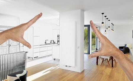 Geplante Renovierung eines modernen Luxus-Wohnzimmer und Küche
