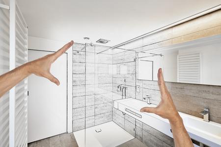 高級バスルーム不動産ホーム シャワーの改修を計画