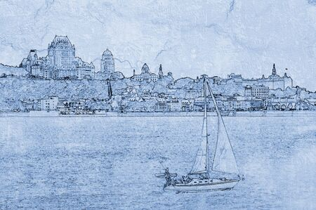 quebec city: Drawing of a view on Chateau Frontenac Hotel in Quebec City, Canada.