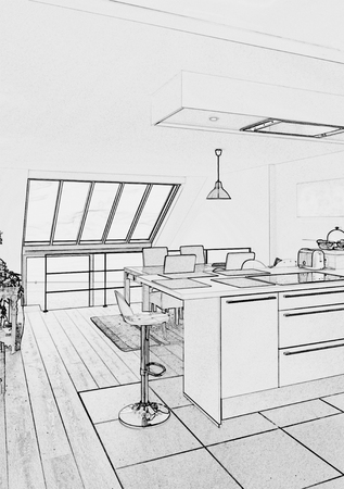 modern kitchen: sketch of a  Modern open kitchen in renovated house Stock Photo