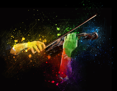 Hands playing wooden violin with notes flying on black background