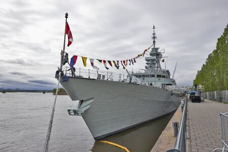 he: MONTREAL, QUEBEC, CANADA - 19 MAY 2017: HMCS Montréal in the old port of Montreal for opening doors, he is a Halifax-class frigate that has served in the Canadian Forces since 1993.