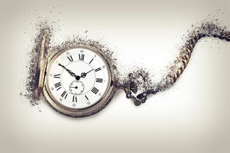 Antique pocket watch exploding, Time countdown concept Stock Photo