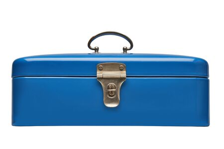Old and heavy vintage blue metal chest isolated on white. Clipping Path Stock fotó