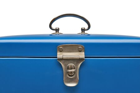 heavy: Old and heavy vintage blue metal chest in close-up isolated on white. Clipping path