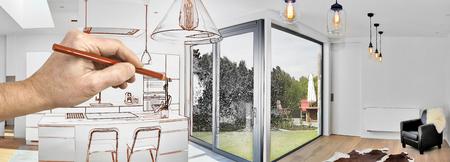 Tekening renovatie van een open moderne keuken van loft met uitzicht op een weelderige tuin