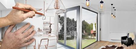 緑豊かな庭園を望むロフトからオープン キッチンの改修を描画 写真素材 - 83105798
