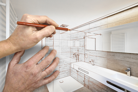 Drawing renovation of a luxury bathroom estate home shower  스톡 콘텐츠