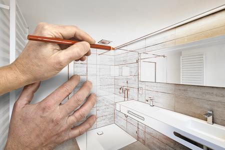 Tekeningrenovatie van een huisdouche van het luxebadkamersgebied Stockfoto