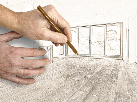 white wood floor: Drawing and planned renovation of a modern interior with wooden floor, there is a path for windows Stock Photo