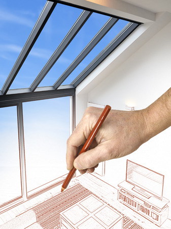 Drawing and planned Modern living room with large windows. View from above Stock Photo