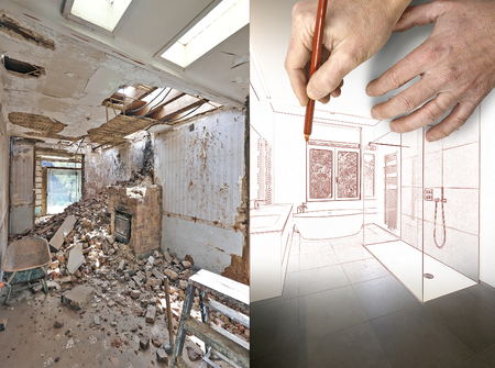 luxury room: Drawing and planned Renovation of a bathroom Before and after Stock Photo