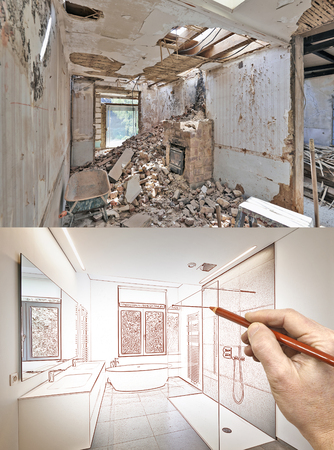 modern bathroom: Drawing and planned Renovation of a bathroom Before and after Stock Photo