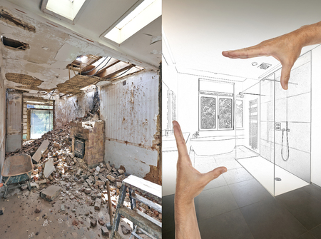 Drawing and planned Renovation of a bathroom Before and after Stockfoto