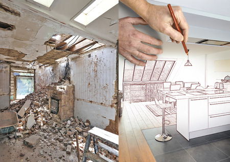 Drawing and planned Modern open kitchen in renovated house, before and after