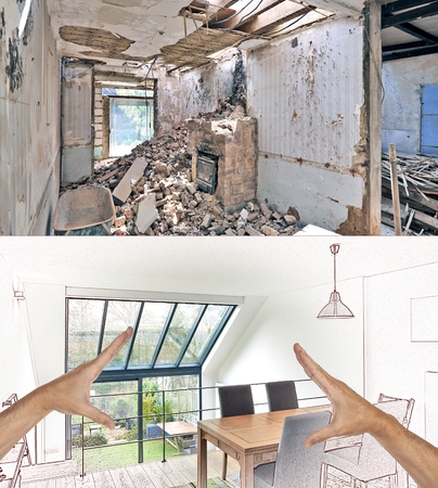 Drawing and planned Renovation of a modern duplex with large windows. Before and after Stock fotó