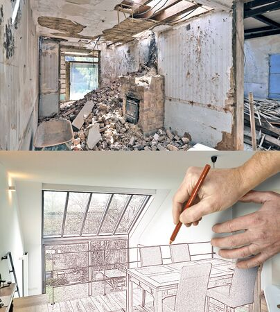 luxury room: Drawing and planned Renovation of a modern duplex with large windows. Before and after Stock Photo