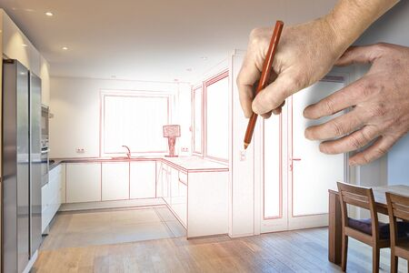 luxury room: Drawing and planned of a Kitchen in renovated house