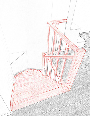 Drawing and planned Renovation of a modern duplex with wooden stairs