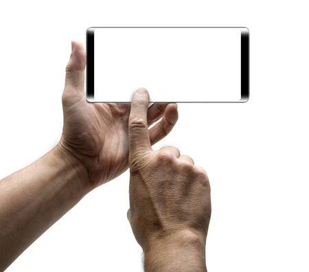 Dos manos sosteniendo un teléfono móvil y tomar una foto.